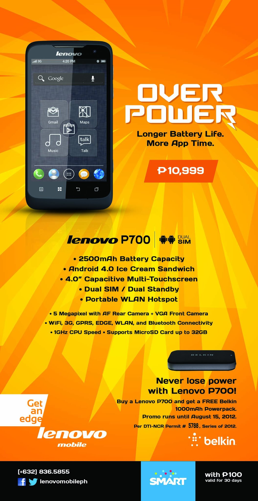 Lenovo P700 Price, Specifications, Features – Dual-SIM 1GHz ICS Philippines