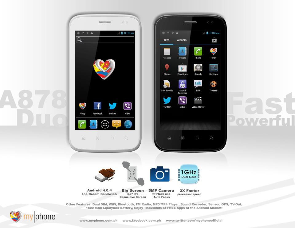 MyPhone A878 Duo Black and White