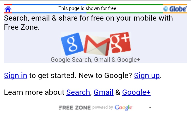 Free Internet on Globe through Google Free Zone