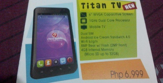 Cherry Mobile Titan TV Leaked, Specs, Priced at Php6,999
