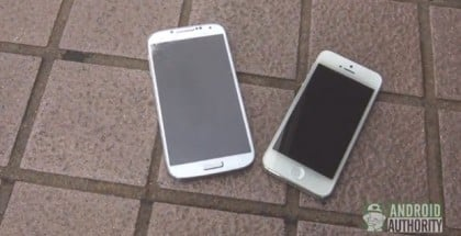 Galaxy S4 vs iPhone 5 Drop Test Video