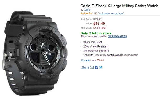 54c7988bfee Purchase a Casio G-Shock X-Large Military GA100-1A1 from Amazon ...