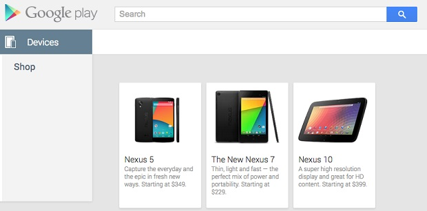 Google Nexus 5 in Play Store