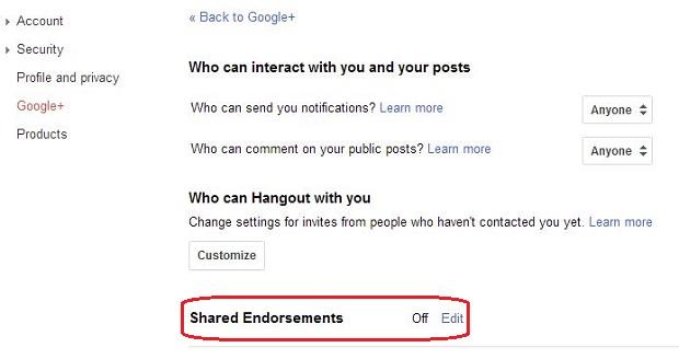 Google Plus Shared Endorsements settings