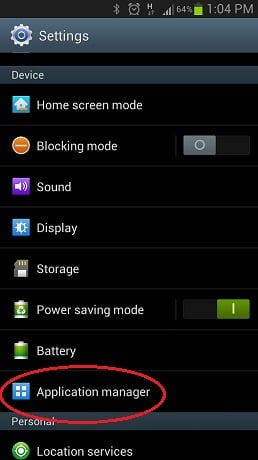 Application manager in Android settings