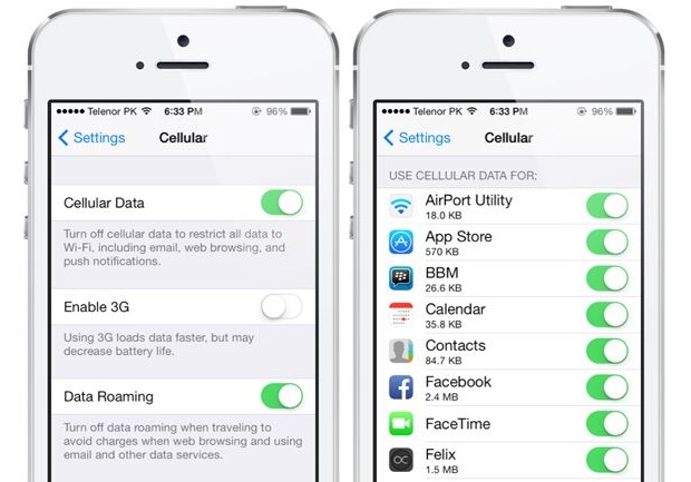 Disable cellular data usage iOS 7