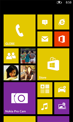 Homescreen of Lumia 1020