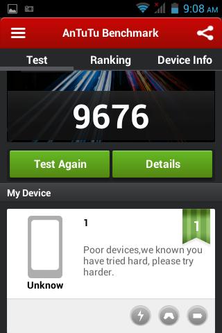 AnTuTu benchmark scores of O+ 8.36z