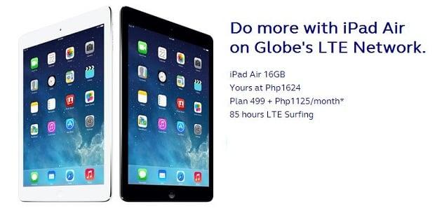 iPad Air prices on Globe