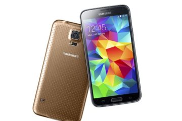 Samsung Galaxy S5 gold front and back