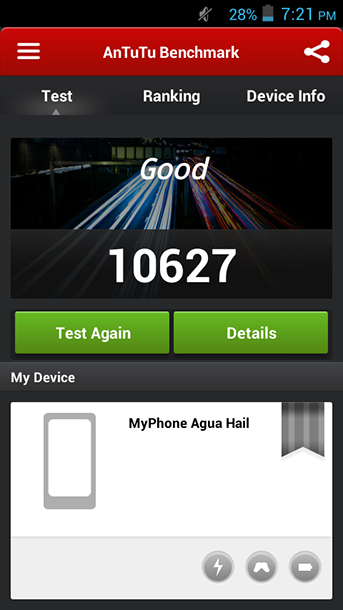 Benchmarks of MyPhone Agua Hail