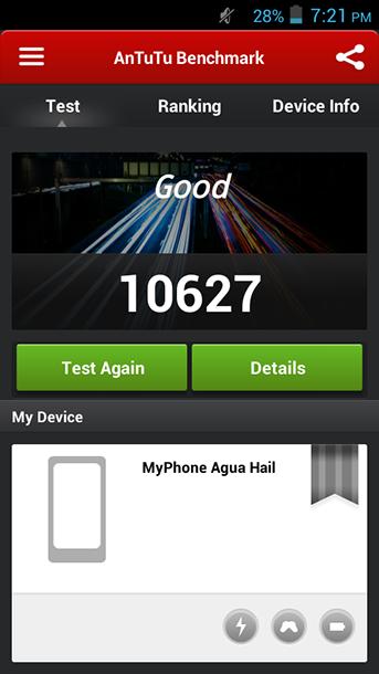 Benchmarks of MyPhone Agua Hail