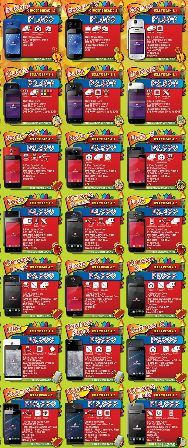 Cherry Mobile Festival 2014 smartphone pricelist 2