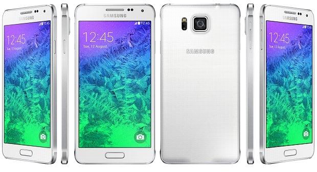 Samsung Galaxy Alpha front, back