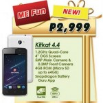 Cherry Mobile ME Fun: Android 4.4.2 KitKat, 4-inch OGS Display, quad-core CPU, Php2999