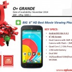 O+ Grande announced: 6-inch Display, Quad-core CPU, Android 4.4 Kitkat
