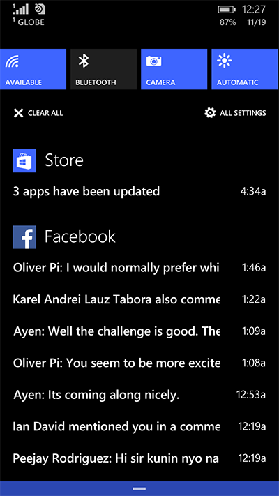 Notification center of  Windows Phone