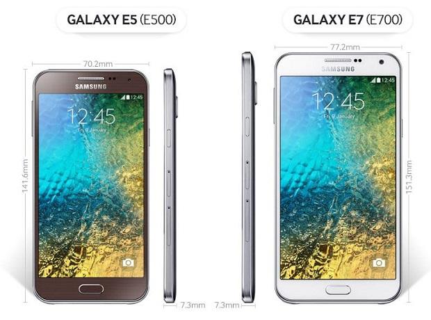 Samsung Galaxy E5, Galaxy E7 dimensions