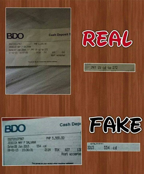 BDO fake vs real deposit slips