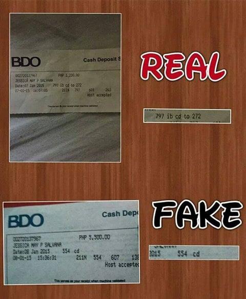 BDO fake vs real deposit slips