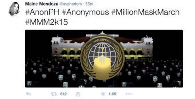 Maine Mendoza Twitter hack Anonymous PH