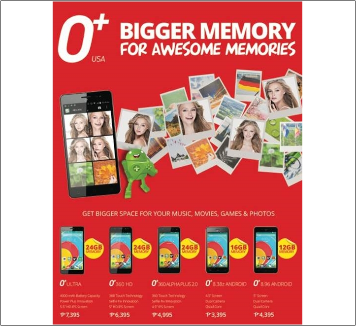 O+ USA increased storage smartphones