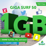 Smart GigaSurf50 offers 1GB of data + 300MB for YouTube, iFlix, and more