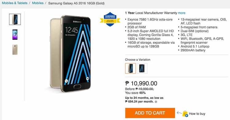 Deal Alert: Get the Samsung Galaxy A5 (2016) for up to 45%