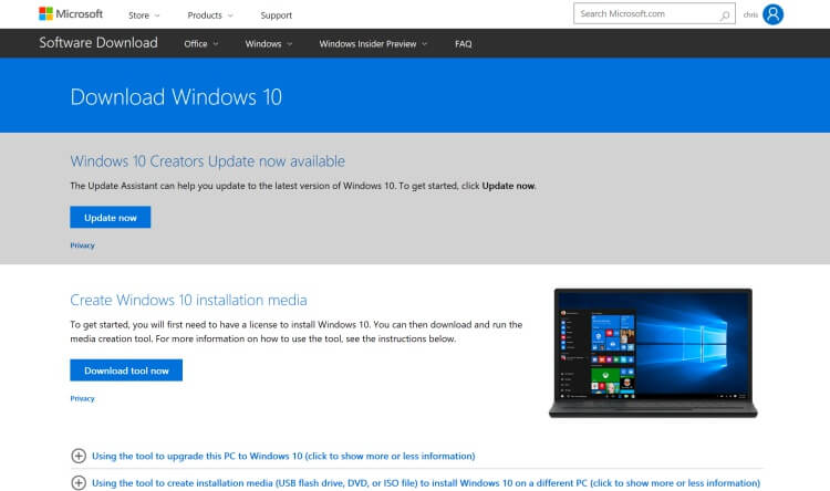 Windows-10-Creators-Update-Manual-installation
