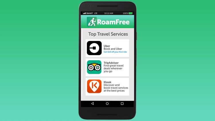 RoamFree list of apps and countries