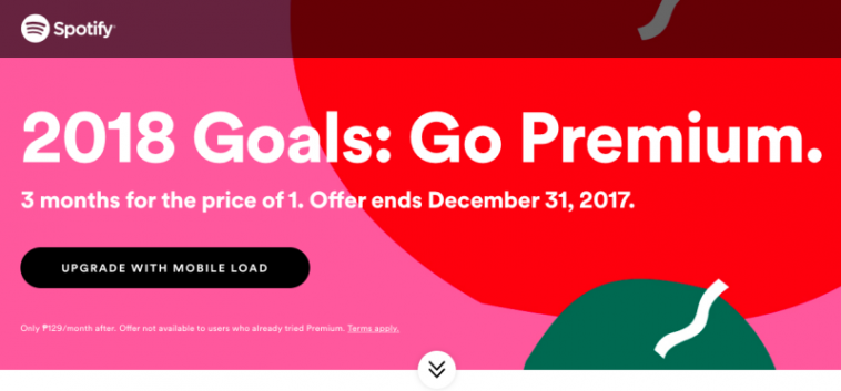 Pay via mobile load and get 3 months of Spotify Premium for