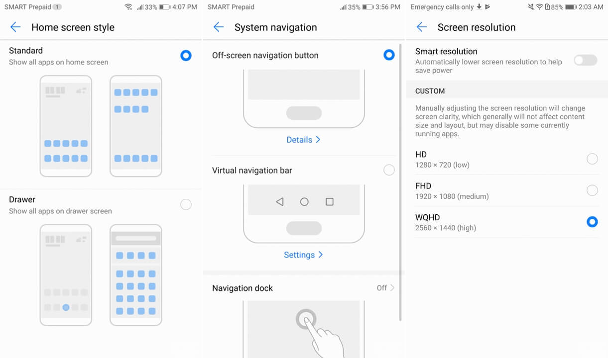 Navigation buttons Huawei Mate 10