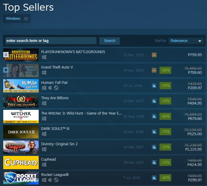 Steam Top Sellers