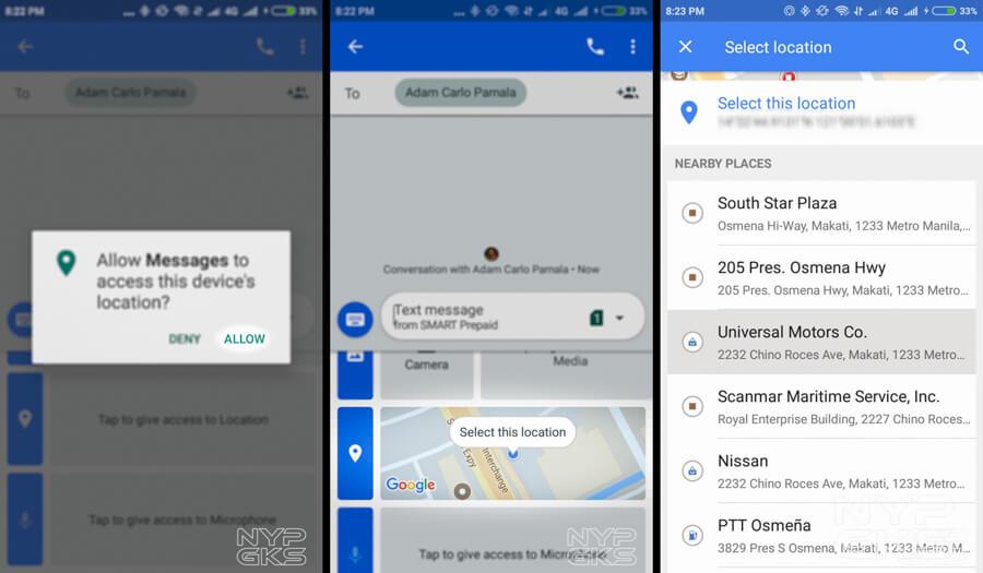 send location via google messages