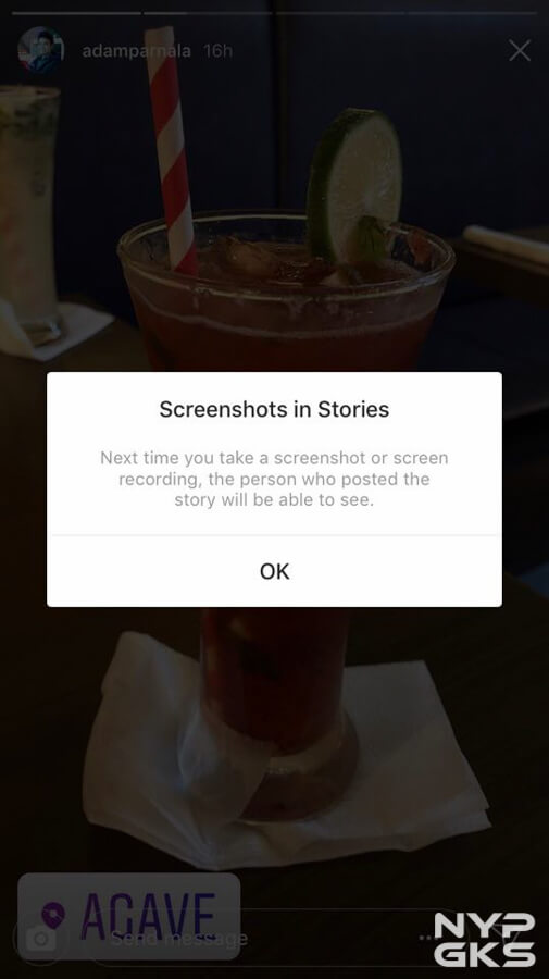 IG stories screenshot notification