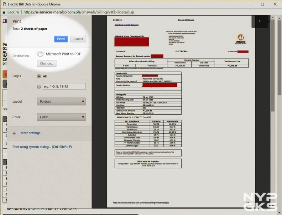 meralco online bill