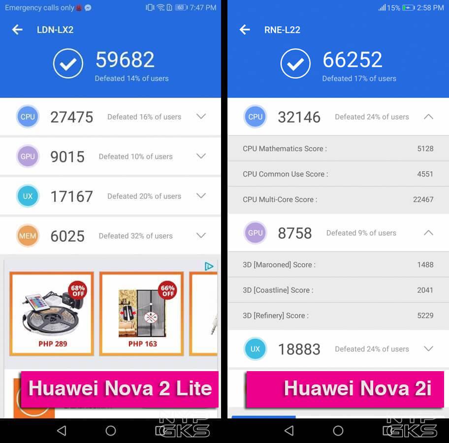 Huawei Nova 2 Lite vs Nova 2i Benchmarks AnTuTu