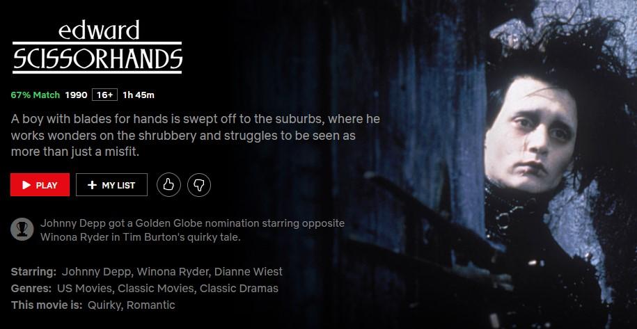Edward-Scissorhands-Romance-movies-Netflix-NoypiGeeks