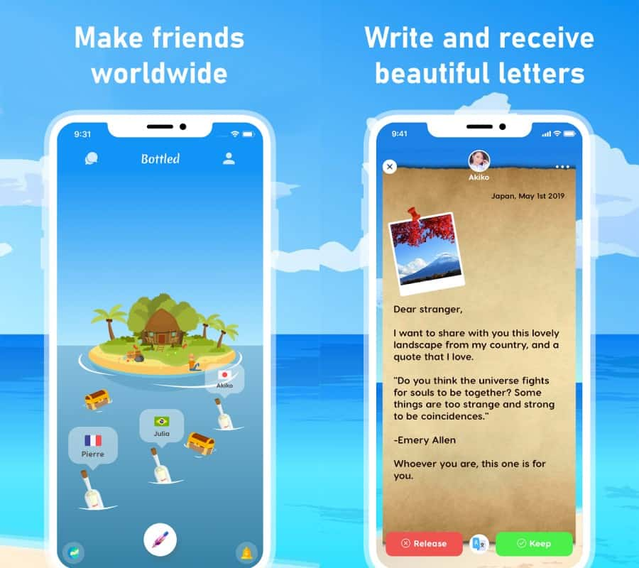 Bottled-pen-pal-apps