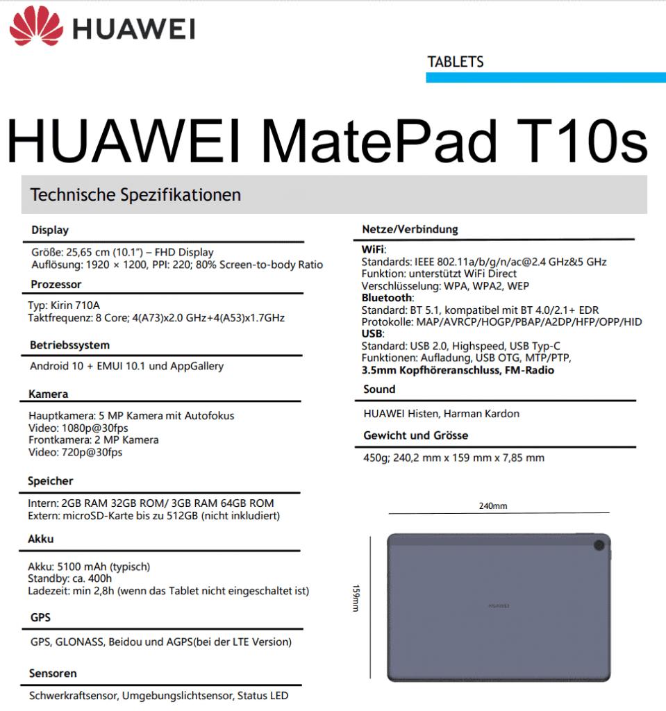 Huawei-MatePad-T10s-specs