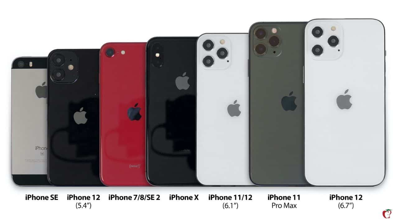 iPhone 12 sizes compared to older iPhones