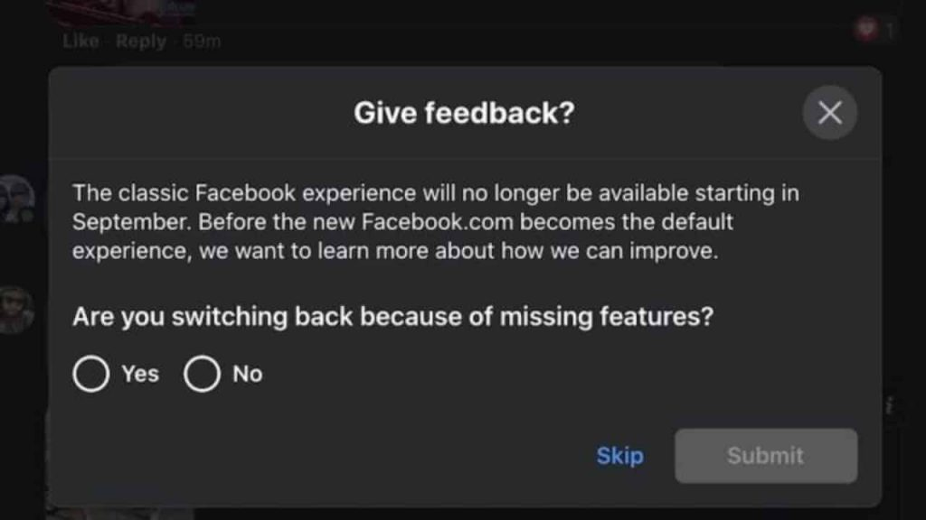Classic-Facebook-discontinued
