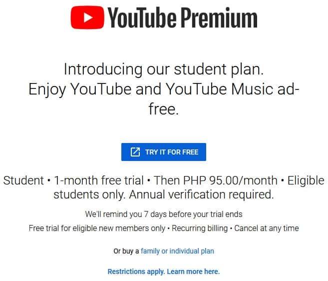 YouTube-Premium-student-Philippines